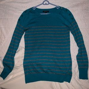 Banana Republic Teal and Gray striped Sweater